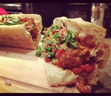Curried Meatball Sandwich on Toasted French Bread
