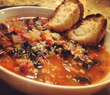 Spicy Lentil, Kale, Sausage Soup for Lovers